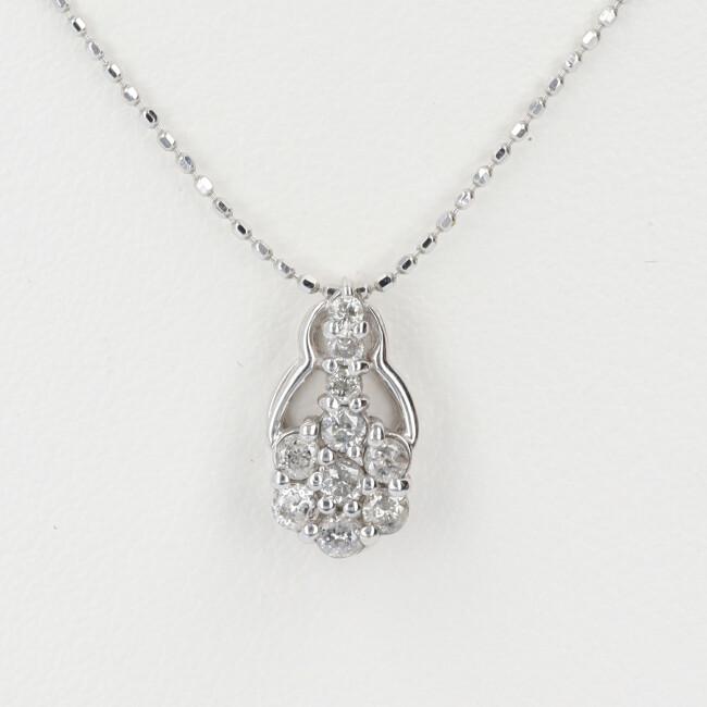 K18WG ホワイトゴールド ダイヤモンド付フラワーモチーフネックレス D0.30ct 約40cm/約2.1g 18金 レディース 4月誕生石 【中古】