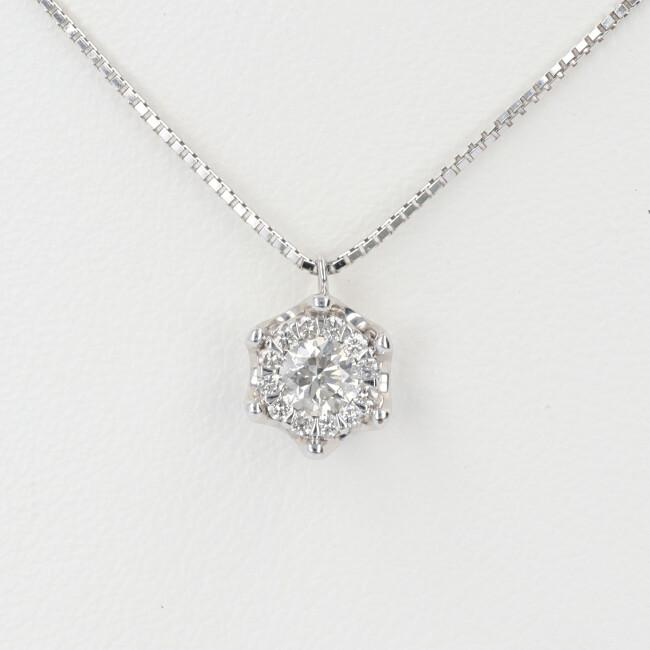 K18WG ダイヤモンド付ネックレス 取り巻き D0.29ct 約40cm/約2.8g 18金 無段階ベネチアン レディース 4月誕生石 【中古】