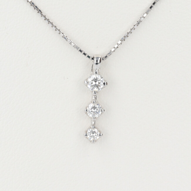 K18WG ホワイトゴールド ダイヤモンド3連ネックレス D0.19 約42cm/約2.6g TASAKI タサキ 18金 レディース 4月誕生石 【中古】