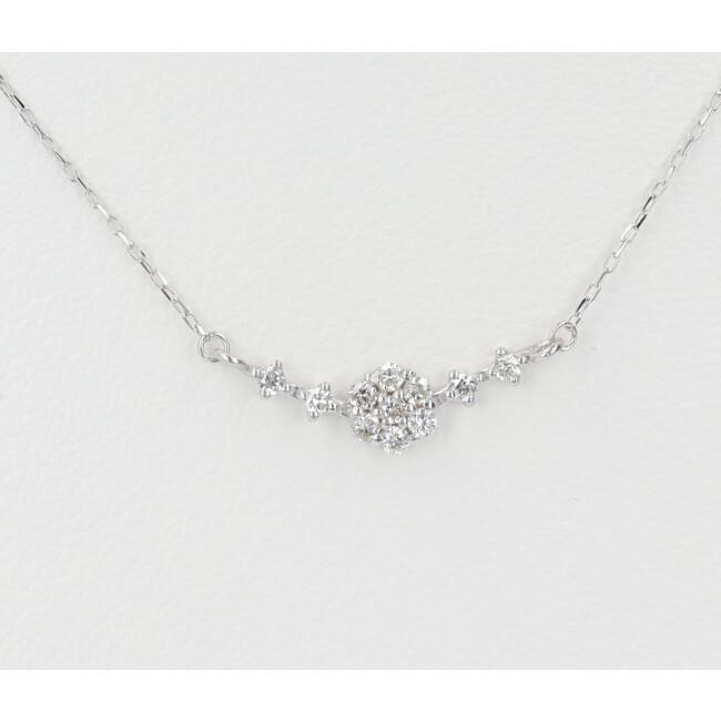 中古 美品 K18WG ダイヤモンド付ネックレス D0.10ct 約40cm レディース ホワイトゴールド 4月誕生石 永遠の定番モデル 約0.7g 18金