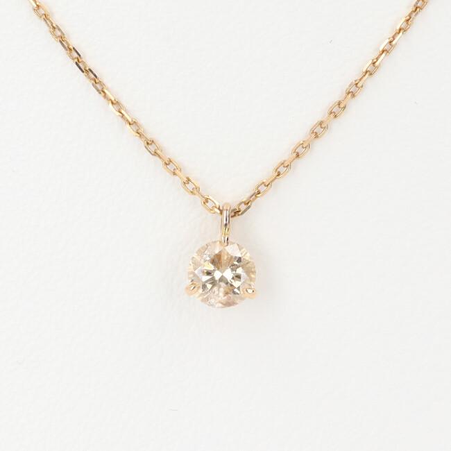 K18 1Pダイヤモンド付ネックレス D0.39ct 約40cm/約1.7g 18金 ゴールド レディース 4月誕生石 【中古】