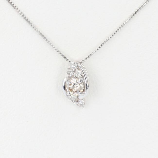 K18WG ダイヤモンド付ネックレス D0.22ct 約45cm/約1.8g ホワイトゴールド 18金 レディース 4月誕生石 【中古】