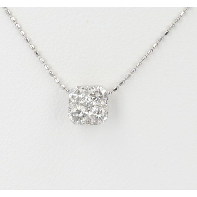 K18WG ダイヤモンド付ネックレス パヴェ D0.50ct 約40cm/約2.7g 18金 ホワイトゴールド レディース 4月誕生石 【中古】
