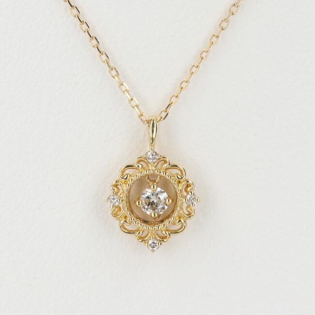 K18 ダイヤモンド付ネックレス 透かしデザイン D0.13ct 約40cm/約1.8g 18金 レディース 4月誕生石 【中古】