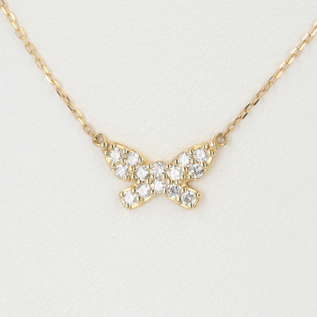 K18 ダイヤモンド付ネックレス バタフライモチーフ D0.20ct 約40cm/約1.3g 18金 レディース 【中古】