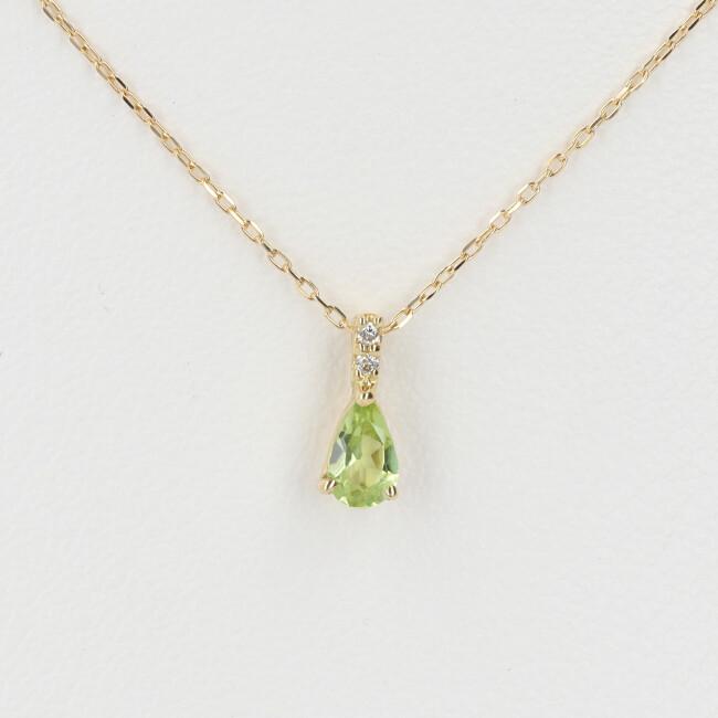 K18 ペリドット・ダイヤモンド付ネックレス D0.01ct 約40cm/約1.0g 18金 レディース 4月誕生石 8月誕生石 【中古】