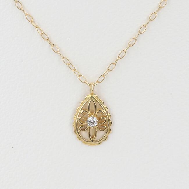 K18 ダイヤモンド付ネックレス 約40cm/約0.9g 18金 レディース 4月誕生石 【中古】