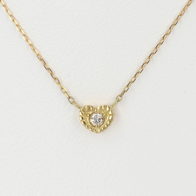 K18 ダイヤモンド付ネックレス ハートモチーフ D0.05ct 約40cm/約1.3g 18金 レディース 4月誕生石 【中古】