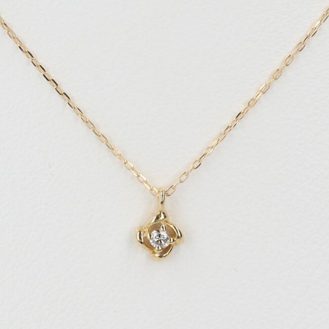K18 ダイヤモンド付ネックレス 1Pダイヤ D0.03ct 約40cm/約1.0g 18金 レディース 4月誕生石 【中古】