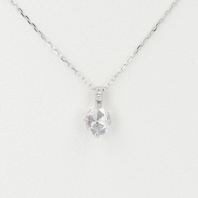 K10WG ダイヤモンド付ネックレス 1Pダイヤ D0.20ct 約40cm/約0.8g ホワイトゴールド レディース 4月誕生石 【中古】