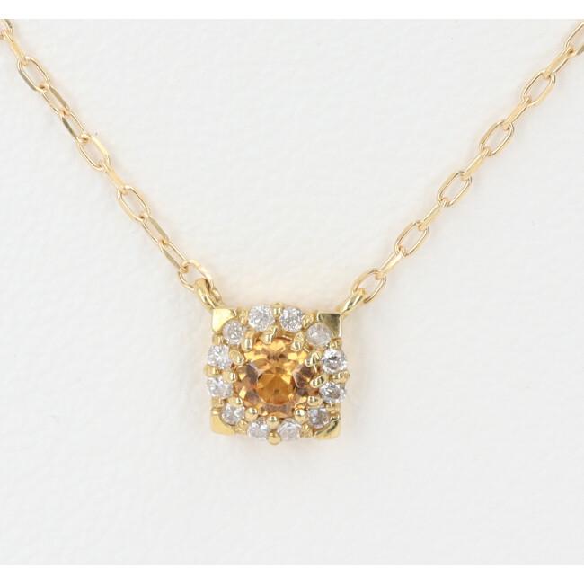 K18 スペサルティンガーネット ダイヤモンド付ネックレス D0.06ct 約40cm/約1.2g イエローゴールド レディース 4月誕生石 【中古】