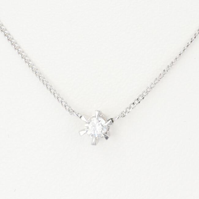 PT850 プラチナ ダイヤモンド付ネックレス 約40cm/約2.6g 一粒ジュエリー ダイヤ レディース 4月誕生石 【中古】