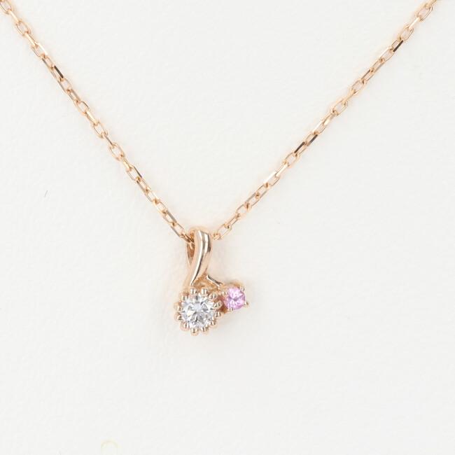 K18PG ダイヤモンド・ピンク石付ネックレス D0.06ct 約40cm/1.3g ピンクゴールド 18金 レディース 4月誕生石 【中古】