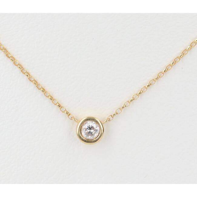 K18YG ダイヤモンド付デザインネックレス D0.09ct 約40cm/約1.2g 一粒 18金 イエローゴールド レディース 4月誕生石 【中古】