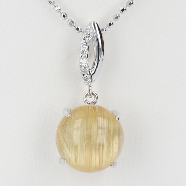 K18 ルチルクオーツ ダイヤモンド付ネックレス 約45cm/約5.6g ホワイトゴールド 18金 レディース 【中古】
