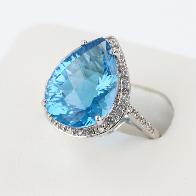 K14WG ブルートパーズ ダイヤモンド付リング 約5.1g/約16号 ダイヤモンド ホワイトゴールド ドロップ 雫 4月誕生石 11月誕生石 【中古】