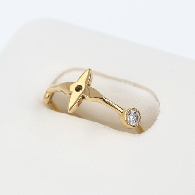 ルイヴィトン【Louis Vuitton】K18 ダイヤモンド付リング 約10号/約1.7g・2.4g イエローゴールド ダイア 女性 4月誕生石 【中古】
