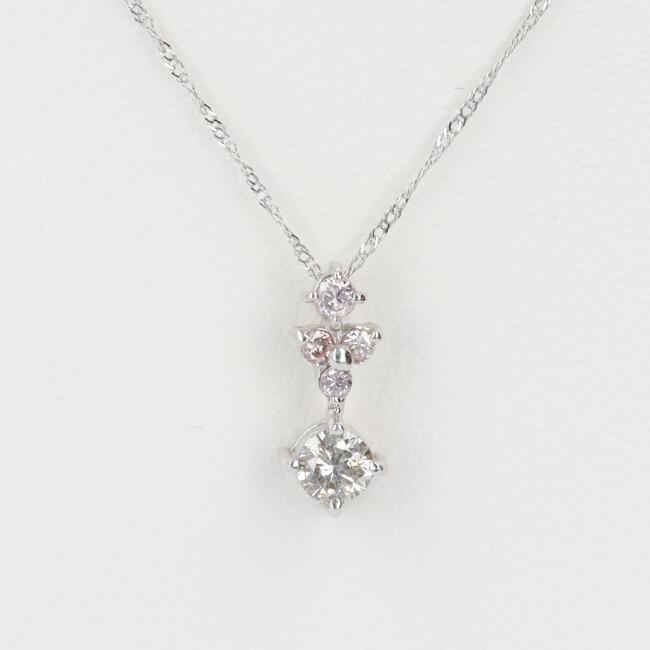 K18WG ホワイトゴールド ダイヤモンド付デザインネックレス D0.06ct D0.19ct 約40cm/約0.9g ピンクダイヤモンド 18金 レディース 【中古】