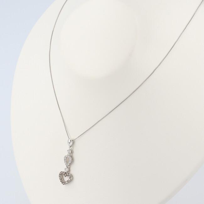 K18WG ホワイトゴールド ダイヤモンド付きハートモチーフネックレス 約40cm 約2 5g 18金 女性 レディース プレゼy8nv0OmNw