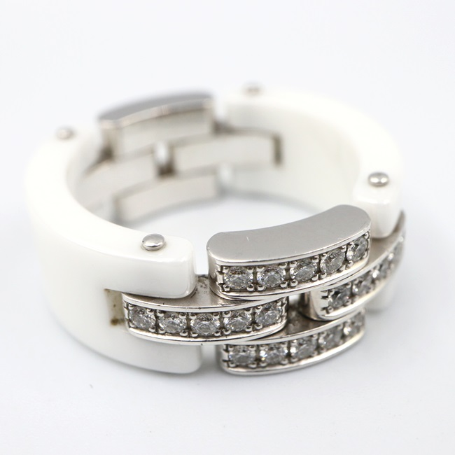 K18WG/750 カルティエ【Cartier】マイヨン パンテール セラミック リング 指輪 約14号/約12g ダイヤモンド レディース 【中古】