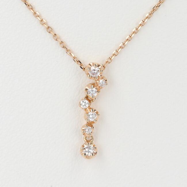 スタージュエリー【STAR JEWELRY】K18YG ダイヤモンド付ネックレス D0.12ct 約40cm/約2.1g 7Pダイヤ 18金 ゴールド レディース 4月誕生石 【中古】