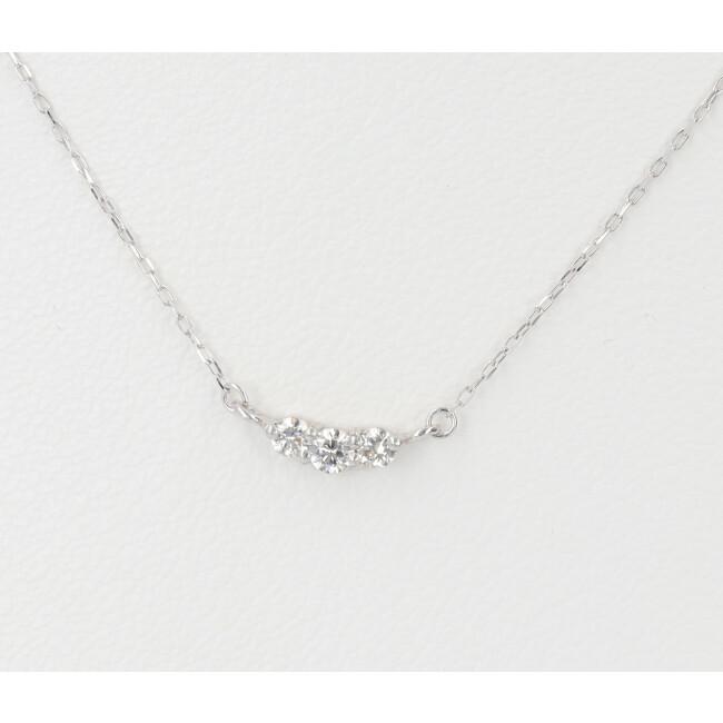 中古 売店 K18WG 3Pダイヤモンド付きネックレス D0.10ct 約40cm レディース 18金 売買 4月誕生石 ホワイトゴールド 約0.6g
