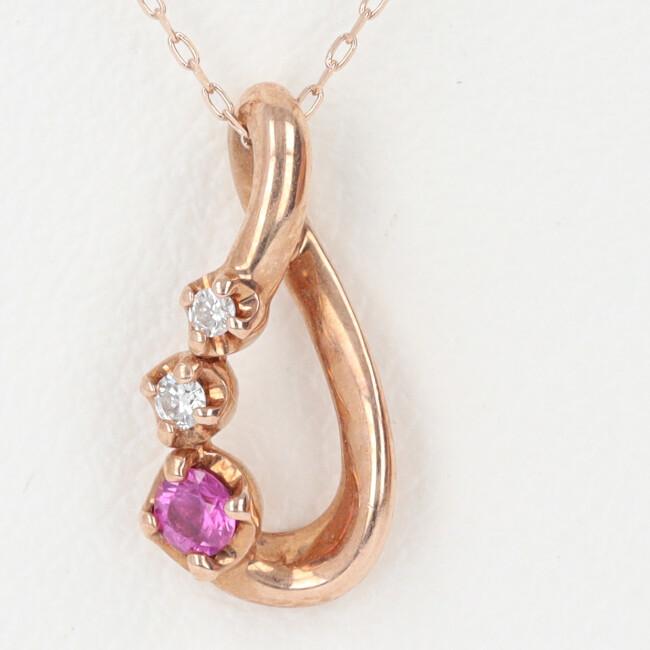 中古 K18PG ダイヤモンド付ネックレス ピンクゴールド D0.02ct 人気ブレゼント 人気商品 約40cm 4月誕生石 約1.3g 18金 レディース 雫モチーフ h