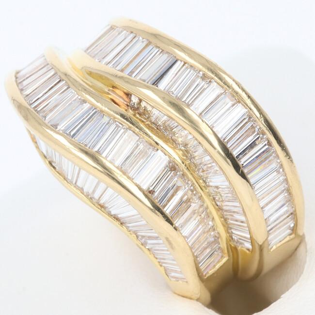 K18YG ダイヤモンド付リング D3.20ct 約12.3g/約14号 イエローゴールド レディース 女性 h【中古】