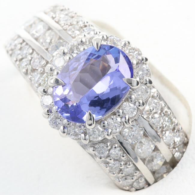 新作販売 中古 PT900 タンザナイト ダイヤモンド付リング T0.97ct 約11号 約8.2g レディース h 贈呈 D0.82ct