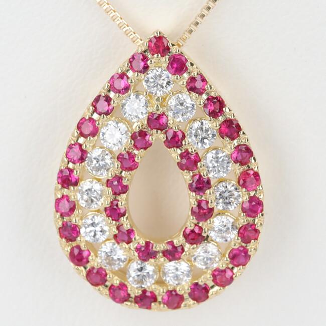 中古 時間指定不可 K18 ルビー ダイヤモンド付ネックレス D0.38ct R0.45ct 約45cm ペアシェイプ h 18金 引出物 約2.7g 雫モチーフ レディース
