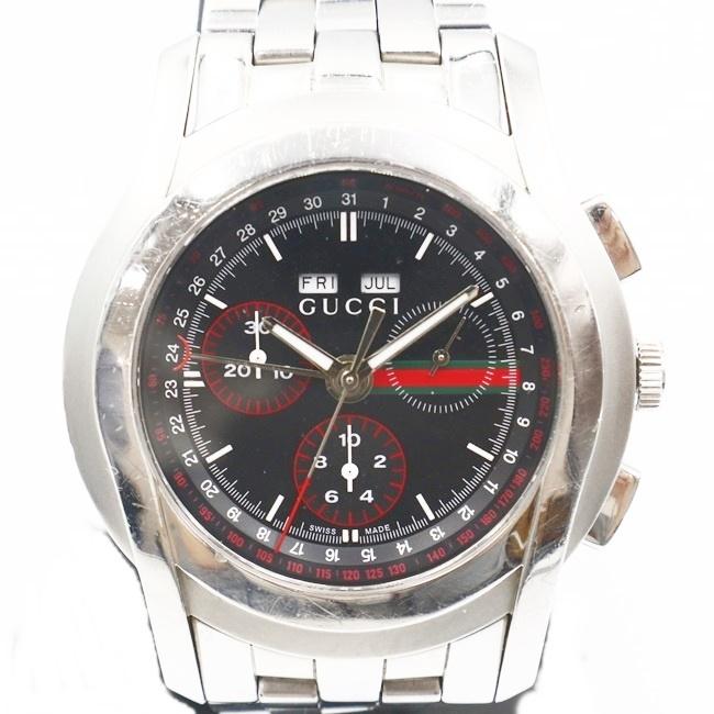 中古 グッチ GUCCI 5500L クロノグラフ トリプルカレンダー h クオーツ SS メンズ 腕時計 国内即発送 オンラインショッピング