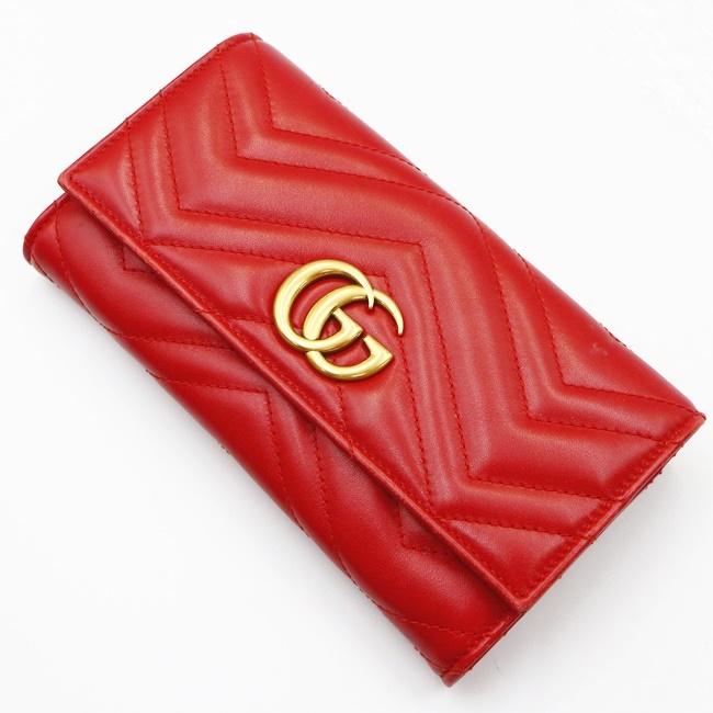 箱 販売 保存袋 グッチ GUCCI 443436 GGマーモント キルティング 商品 レッド h 長財布 ウォレット 赤 中古