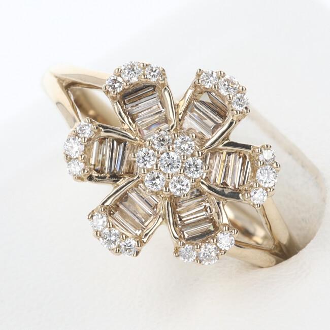K18PG ダイヤモンドリング 超目玉 ピンクゴールド 豪華 ゴージャス ダイヤモンド付リング D0.50ct 約5.5g 約14.5号 ギフト レディース h フラワーモチーフ 贈り物 お祝い プレゼント 全商品オープニング価格 花 中古