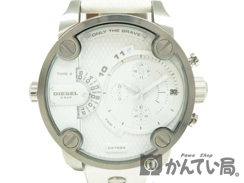 0ca34ad4b5 DIESEL【ディーゼル】 DZ-7265 メンズウォッチ SS レザー クォーツ ホワイト USED-B