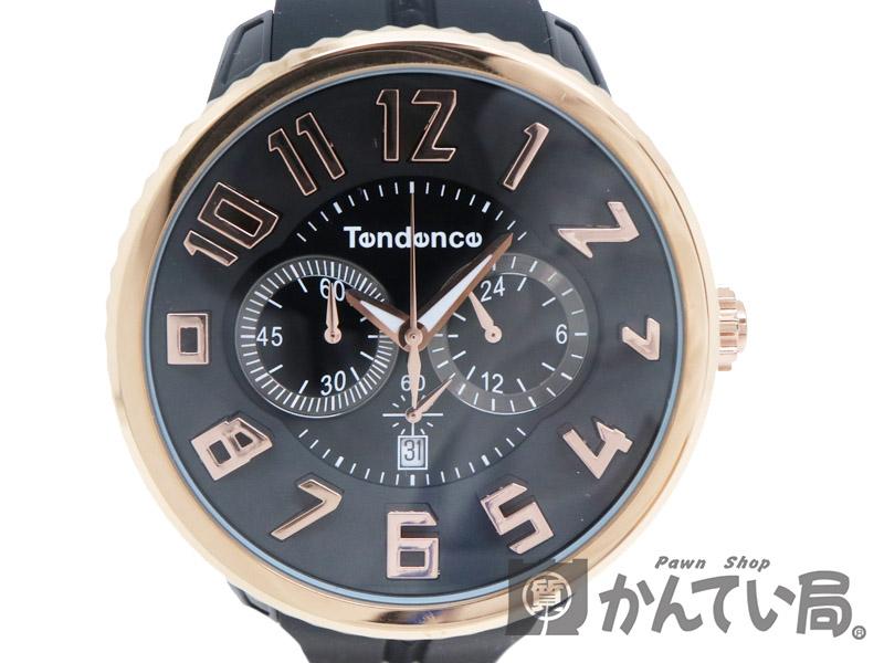 Tendence【テンデンス】 TG046012R ガリバーラウンド クロノ クォーツ ユニセックス ローズゴールド 電池式 SS ラバー 腕時計 USED-7【中古】 質屋 かんてい局茜部店 a18-5340