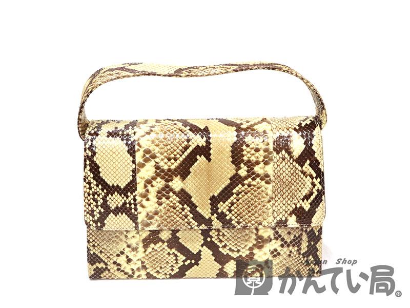 パイソンバッグ 鞄 レザー イエロー系 USED-6【中古】 a18-8124 質屋 かんてい局茜部店