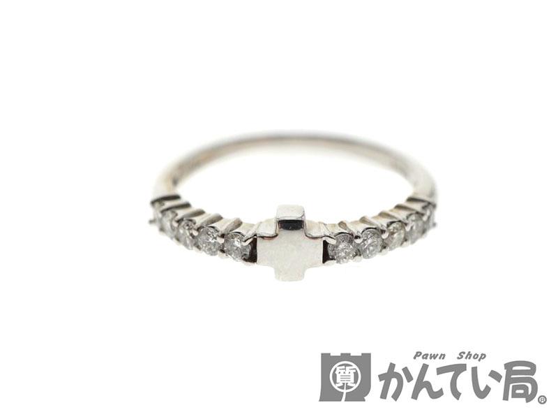 【K18WG】ダイヤ付きリング 18金 ホワイトゴールド ダイヤモンド クロス 十字架 指輪 約11号 レディース【中古】USED-9 質屋かんてい局北名古屋店 n19-582