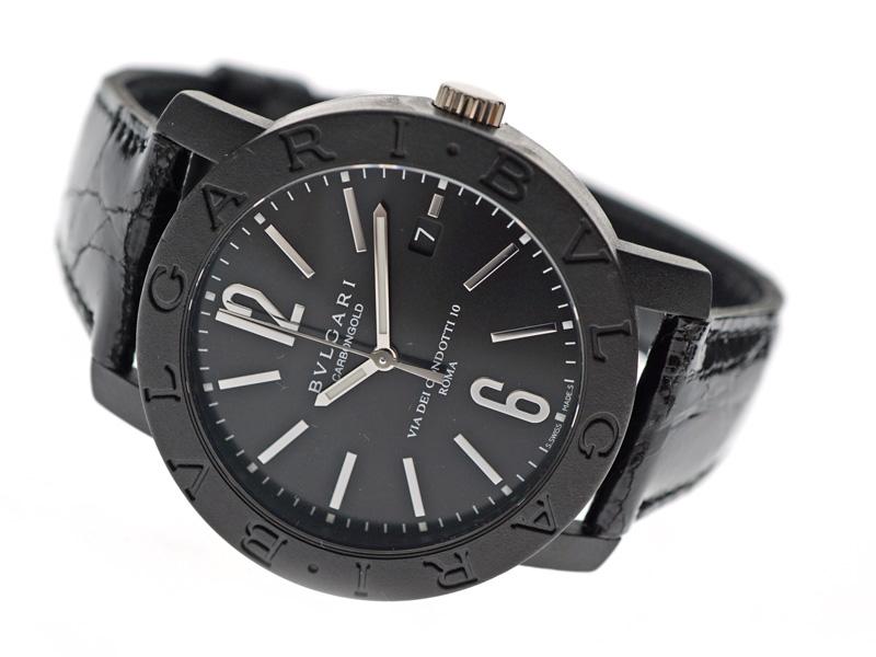 5e5ba6fc72 BVLGARI【ブルガリ】BB40CLブルガリブルガリカーボン革ベルトメンズ腕時計黒ブラック【中古