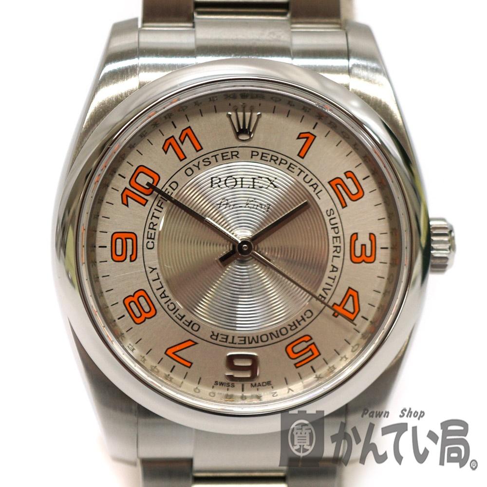 737e806536 ROLEX【ロレックス】114200エアキングV番シルバー文字盤オレンジメンズ腕時計自動巻き