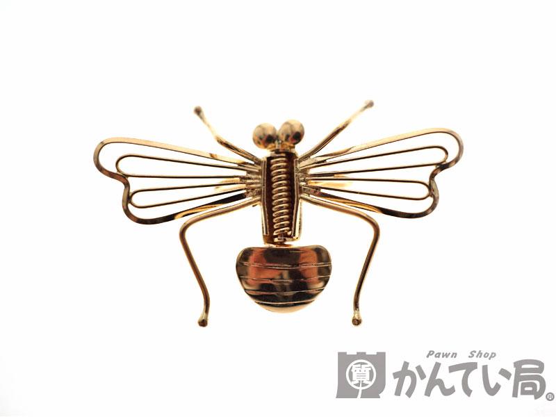 K18 デザインブローチ 18金 虫 蜂 モチーフ ブローチ 【メンテナンス済】 【中古】 USED-9 n18-7679 質屋かんてい局北名古屋店