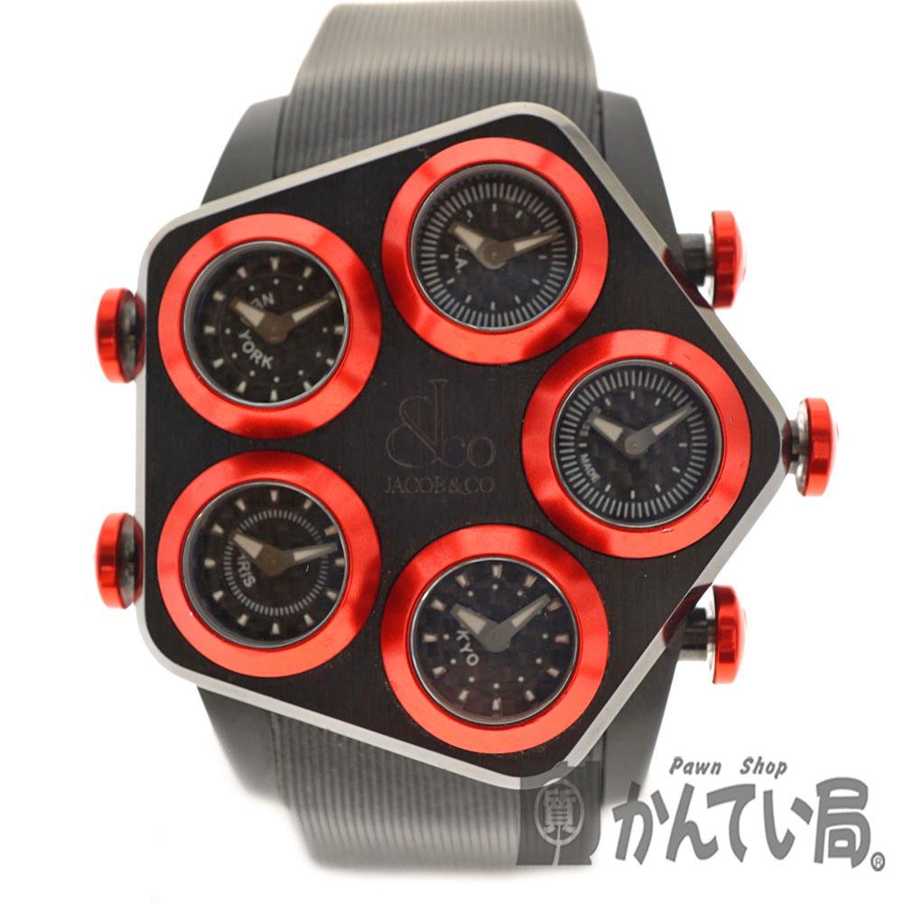 質屋 グローバル 電池交換済【中古】USED-8 ラバー クォーツ n20-3936 腕時計 Jacob&CO.【ジェイコブ】JC-GL1-26 かんてい局北名古屋店 5タイムゾーン 電池式 メンズ ステンレススチール