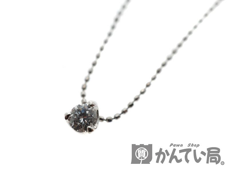 pt850 プラチナ850 ダイヤモンド ネックレス ペンダント 1Pダイヤ シンプル 2.1g 約40cm 【中古】 USED-9 n19-5339