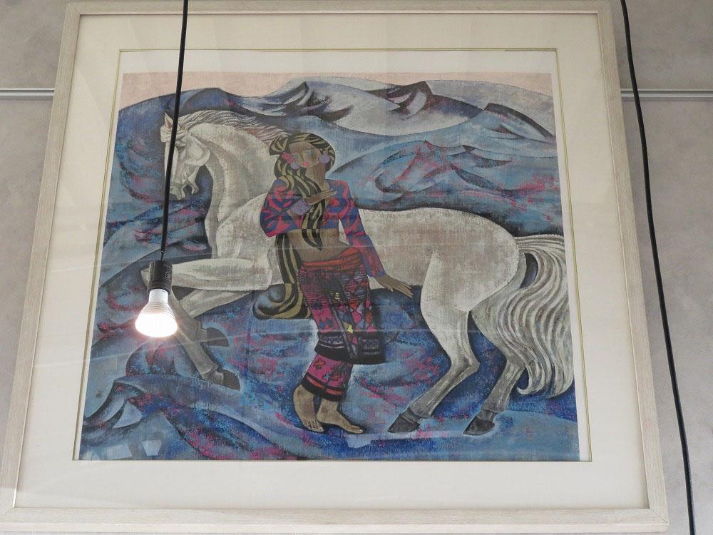 白馬と女の子 丁 紹光 絵画【中古】 かんてい局小牧店 c18-3119
