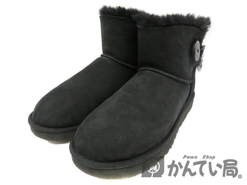 UGG【アグ】1016422 ムートンブーツ ショート 約26cm 黒 ブラック レディース 靴 【中古】USED-7 質屋 かんてい局細畑店 h18-4541