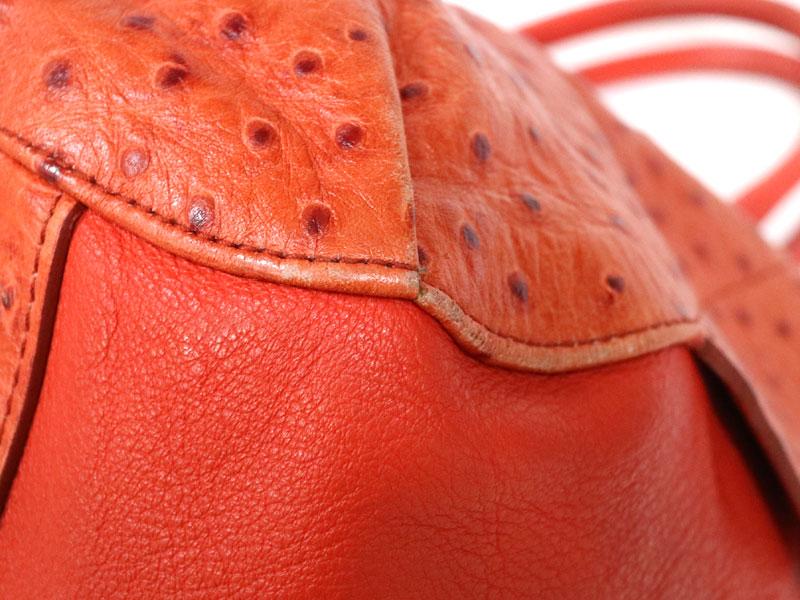 530462579ee1 FURLA【フルラ】トートバッグ型押しオーストリッチ風オレンジレディース【中古】質屋