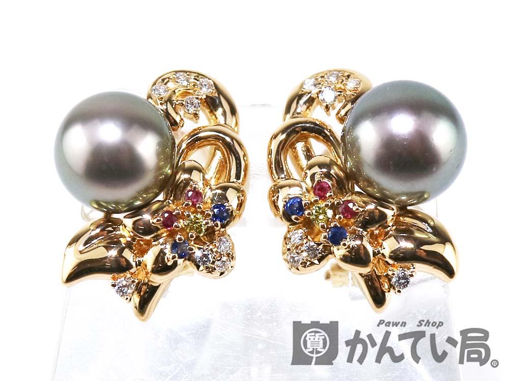 7153c3dd8a82 K18パールイヤリングブラック黒真珠花装飾ダイヤモンドD0.11ct*2両耳 ...