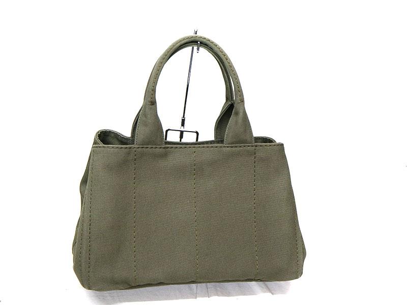 a2a1095fbe5a ... PRADA【プラダ】B1877Bカナパトートバッグカーキ系キャンバスハンドバッグ鞄USED- ...