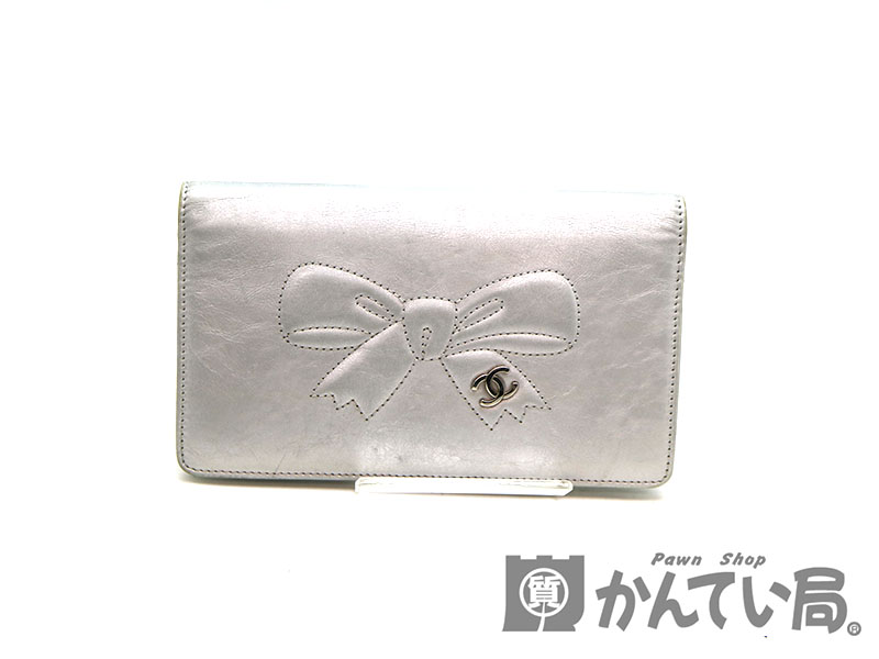 newest 1303c a5ddd CHANELA46896 folio wallet leather silver system wallet here mark ribbon  USED-6 pawnshop かんてい station madder part shop a19-1190