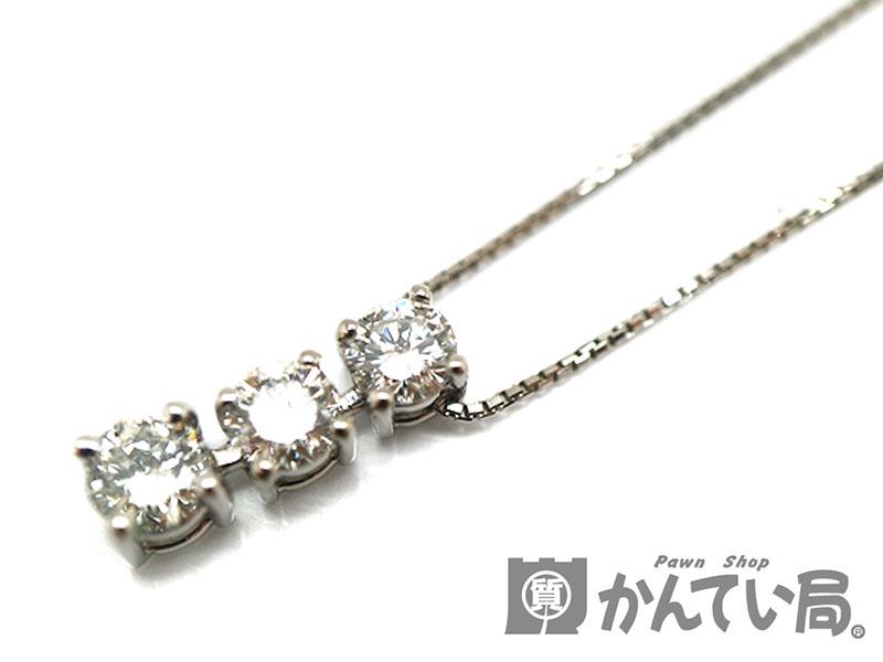 Pt850 トップPt900 D1.01ctネックレス プラチナ ダイヤモンド 約45cm ジュエリー 宝石 新品仕上げ済み USED-9【中古】 a19-5945 質屋 かんてい局茜部店