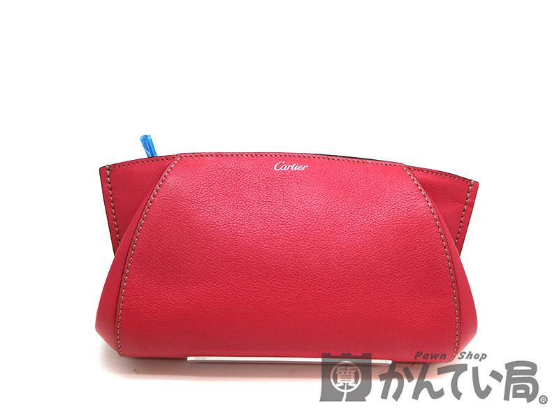 CARTIER【カルティエ】 L3001500 クラッチバッグ 鞄 レザー レッド系 USED-8【中古】 a19-6743 質屋 かんてい局茜部店